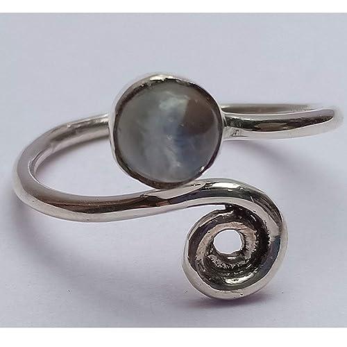 9096c25e44e1c Amazon.com: Sterling Silver Open ring, Rainbow Moonstone Ring ...