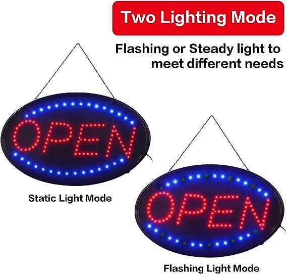 Amazon.com: Señal LED abierta, 23 x 14 pulgadas, letrero de ...