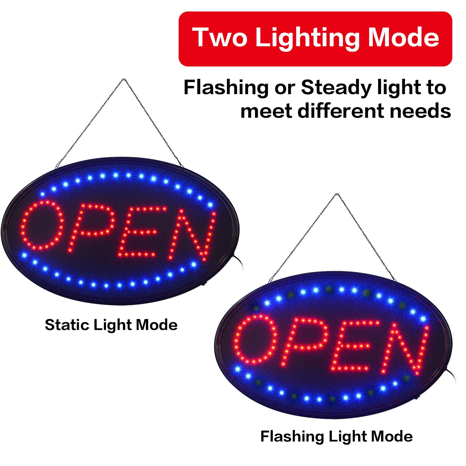 LED Open Sign,23x14inch Larger LED Business Sign,Advertisement Display Board Flashing & Steady Light Open Sign for Business, Walls, Window, Shop, Bar, Hotel by Datedirect (Image #4)