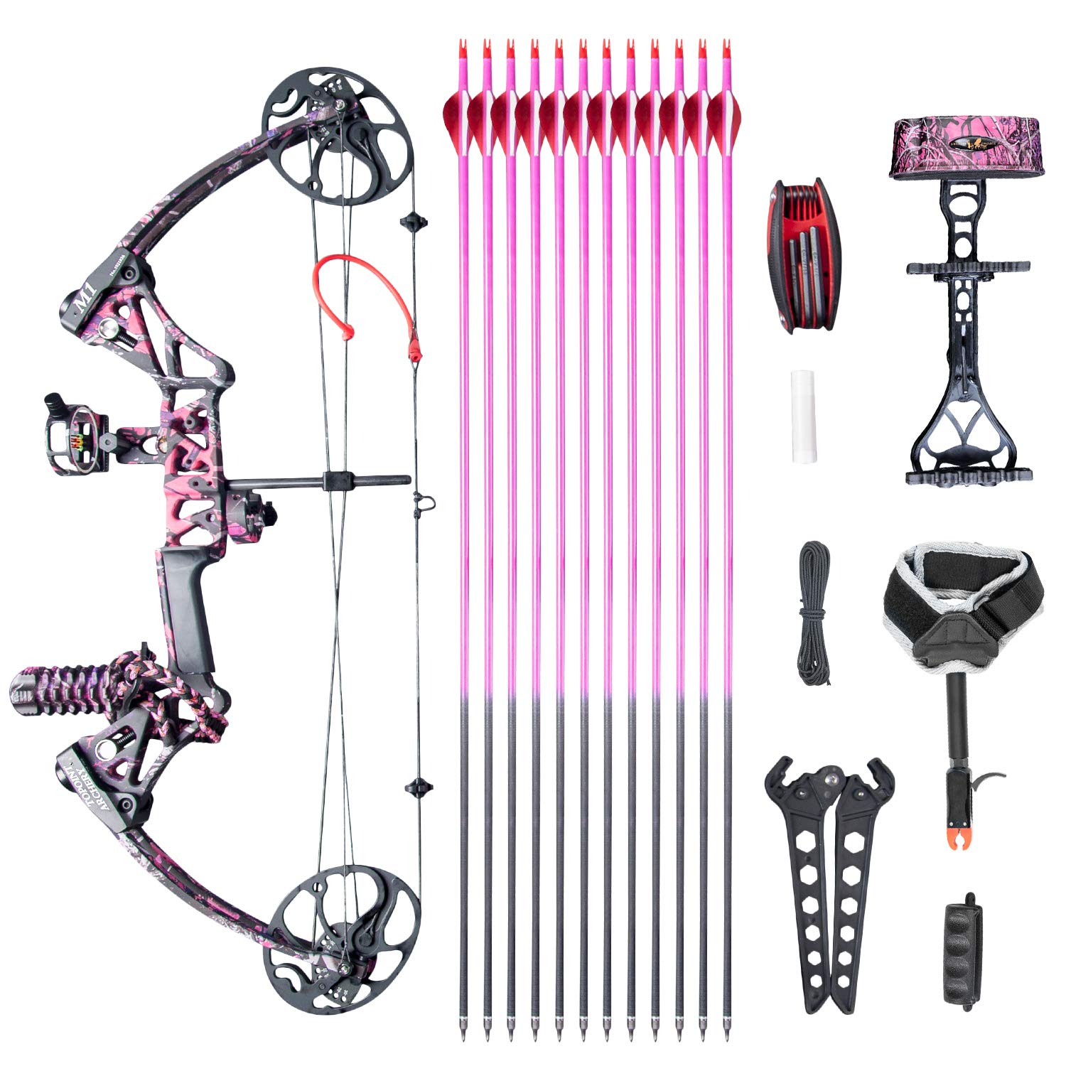 """Compound Bow Ship from USA Warehouse,Topoint Archery for Women, Package M1,19""""-30"""" Draw Length,10-50Lbs Draw Weight,Hunting Bow for Girls,Muddygirl Color (Muddygirl)"""