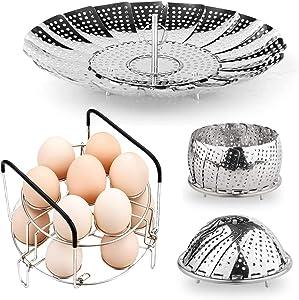 1PACK Vegetable Steamer Basket 2PACK Egg Steamer Rack Stainless Steel Trivet with Heat Resistant Handles Compatible for Instant Pot/Pan Accessories Pressure Cooker