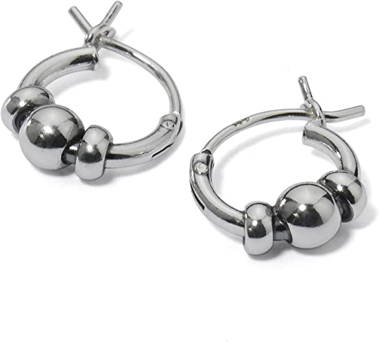 925 Sterling Silver Polished /& Antiqued Bead Hoop Earrings
