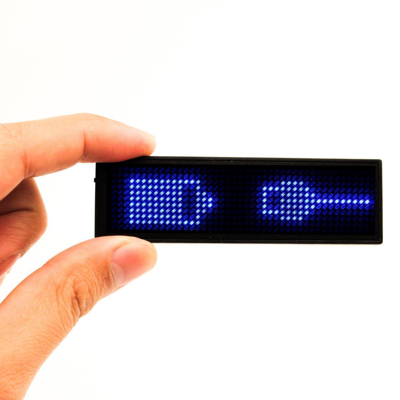 Tag Badge Programmabile con Targhetta Identificativa a LED,Badge Porta Magnetica con Magnete a Scorrimento, Micro USB Ricaricabile,Nuova Versione 11 * 44 Rosso VADIV
