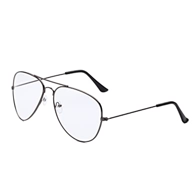 9f4653ce80eac Dollger Unisex Retro Pilot Aviator Glasses Metal Frame Clear lens Vintage  Fashion Glasses Plain Eyewear(Clear Lens+Gun Frame)  Amazon.co.uk  Clothing
