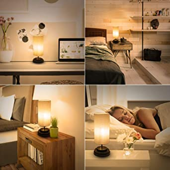 Kohree L/ámpara de Mesa LED con Control T/áctil Totalmente Regulable Puerto USB Bombilla LED de 4W 2700K /… L/ámpara de Mesita de Noche Moderna con Pantalla de Tela Cuadrada para Dormitorio Oficina
