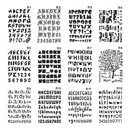 Amazon plastic number and letter stencils templates set for plastic number and letter stencils templates set for painting and crafts set of 12 spiritdancerdesigns Images