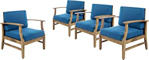 Christopher Knight Home 302226 Perla Outdoor Acacia Wood Club Chairs with Water Resistant Cushions (Set of 4), 4-Pcs Set, Teak Finish/Blue