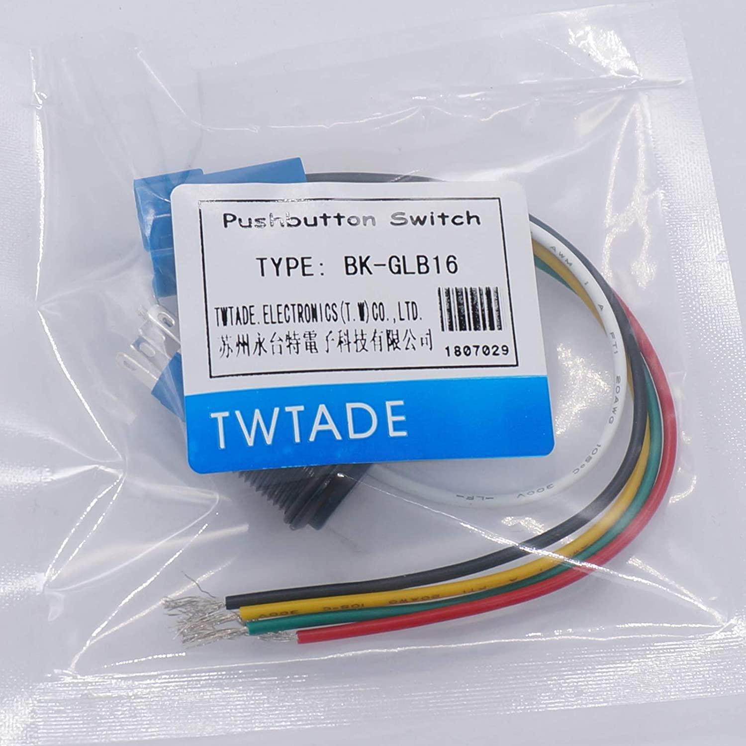 TWTADE//16MM 12V Car Horn Button Blue LED lighted Momentary Metal Speaker Air Horn Toggle Switch with wires BK-GLB19-BU