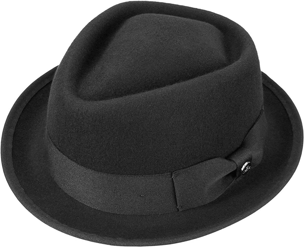 100/% Cotton Hat Trilby Diamond Pork Pie Fedora Gangster Black Ladies Mens Boys