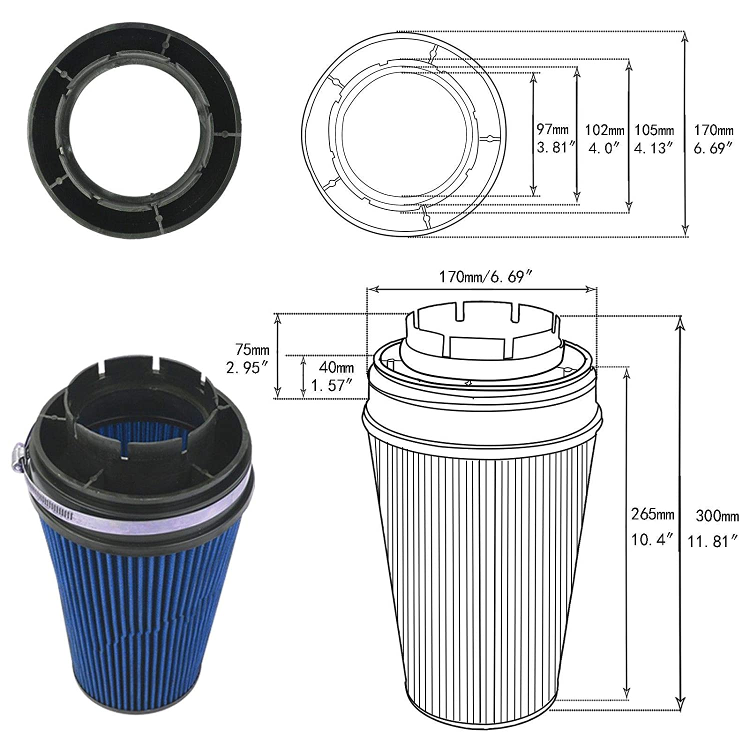 """BLUE 4 Inches 4/"""" Inlet 102mm Cold Air Intake Cone TRUCK FILTER For GMC"""