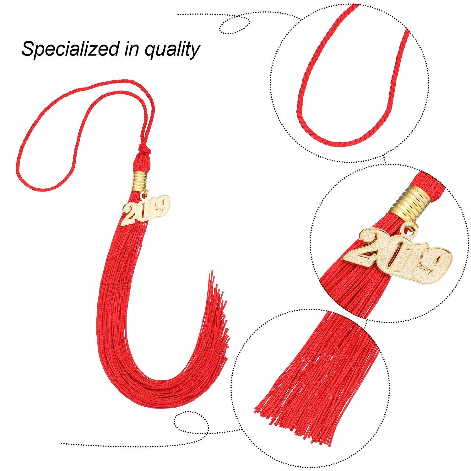 Red 10 Pieces Graduation Tassel Graduation Cap Tassel with 2019 Year Charm for Graduation Parties 9.4 Inches