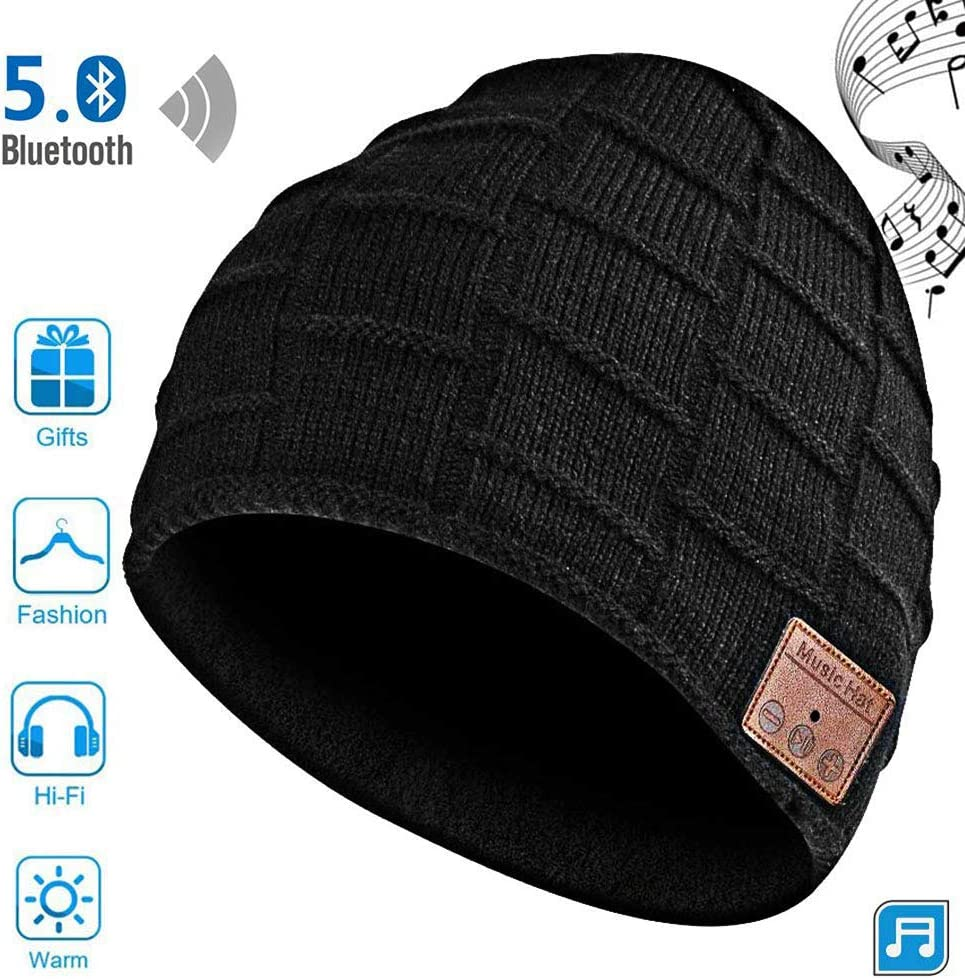 Bluetooth Beanie Hat, Music Hat with Bluetooth Headphones Supports Hands-Free HD Music Calling,Unisex Beanie for Outdoor Sports Charged via USB Gifts for Warm Soft Black