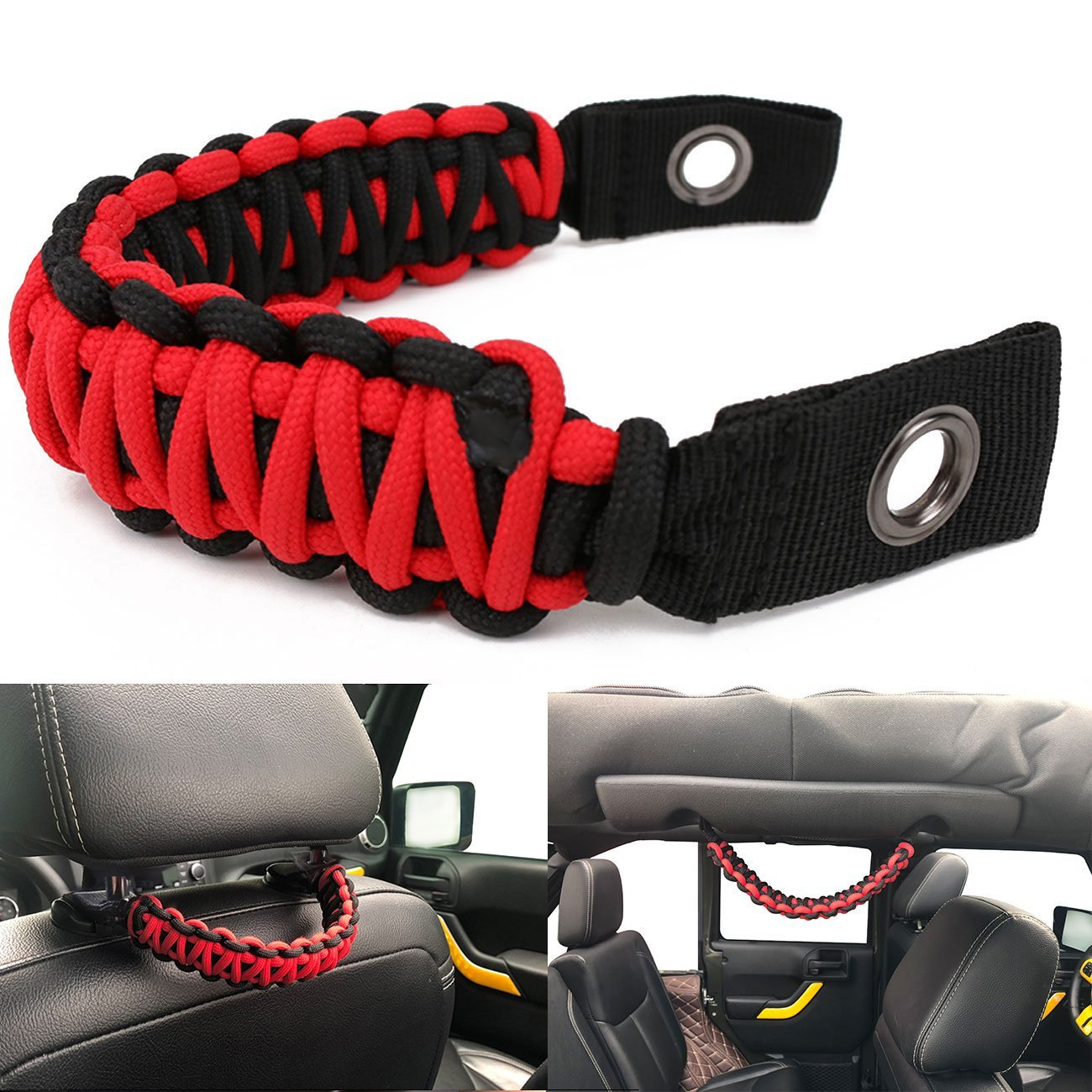 buyinhouse Grab Handle for Jeep Wrangler JK TJ Rear Seat Grab Handles & Safety Grab Handles (Red & Black) Jeep Wrangler JK TJ Land Cruiser FJ