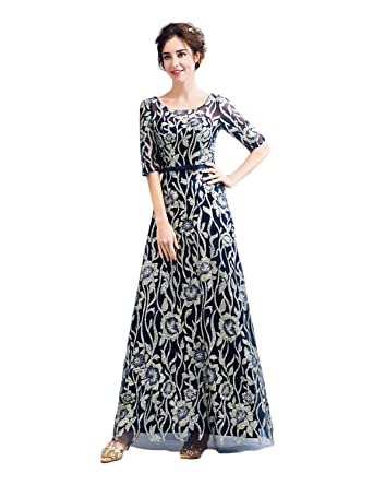 621b2ec08d1 CIRCLEWLD Half Sleeves Prom Dresses Long Gold Paillette Womens Formal  Evening Gown Navy Size 2