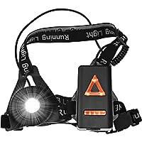 Sotical Eclairage Course, Lampe Running Poitrine USB Rechargeable 3 Modes Eclairage Sport LED pour Jogging, Promenade, Camping, Pêche, Escalade, Sports Extérieur