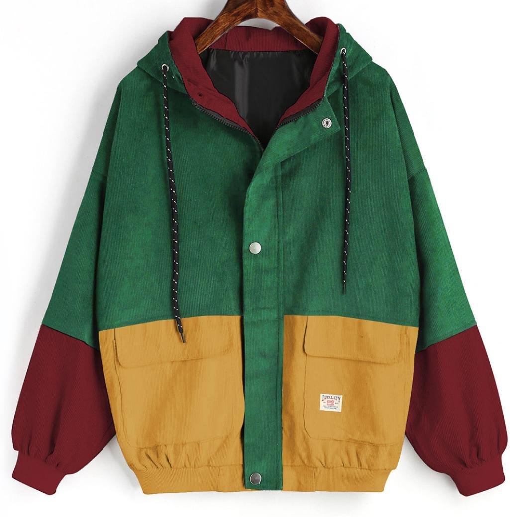 GreatTry Women Windbreaker Coat Long Sleeve Corduroy Patchwork Oversize Jacket Coat (Wine Red, L)