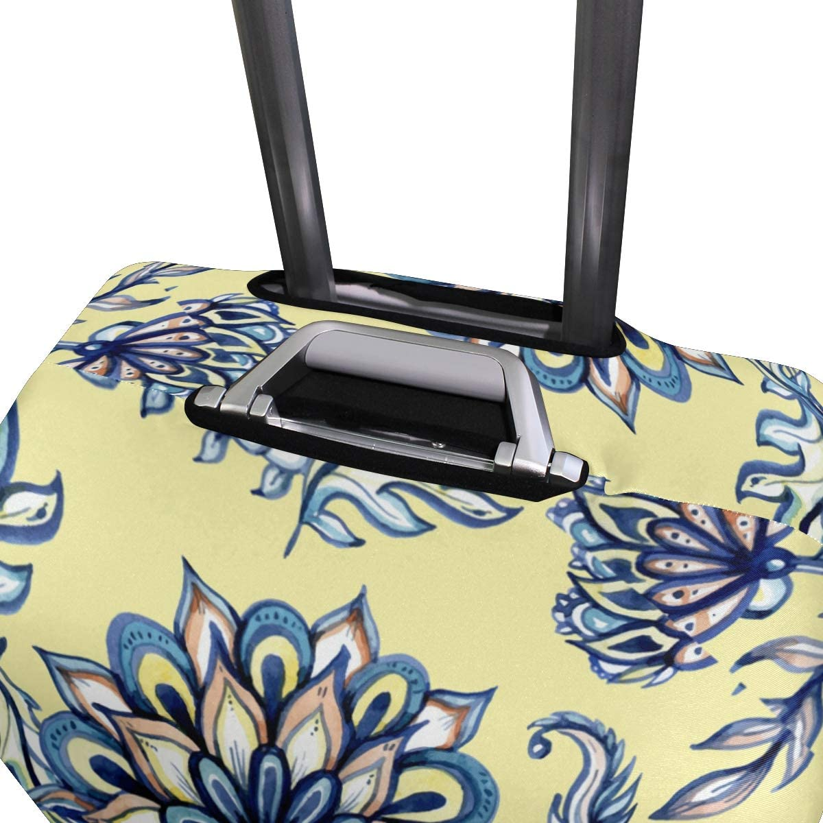 Cute 3D Watercolor Flower Pattern In Batik Style Pattern Luggage Protector Travel Luggage Cover Trolley Case Protective Cover Fits 18-32 Inch