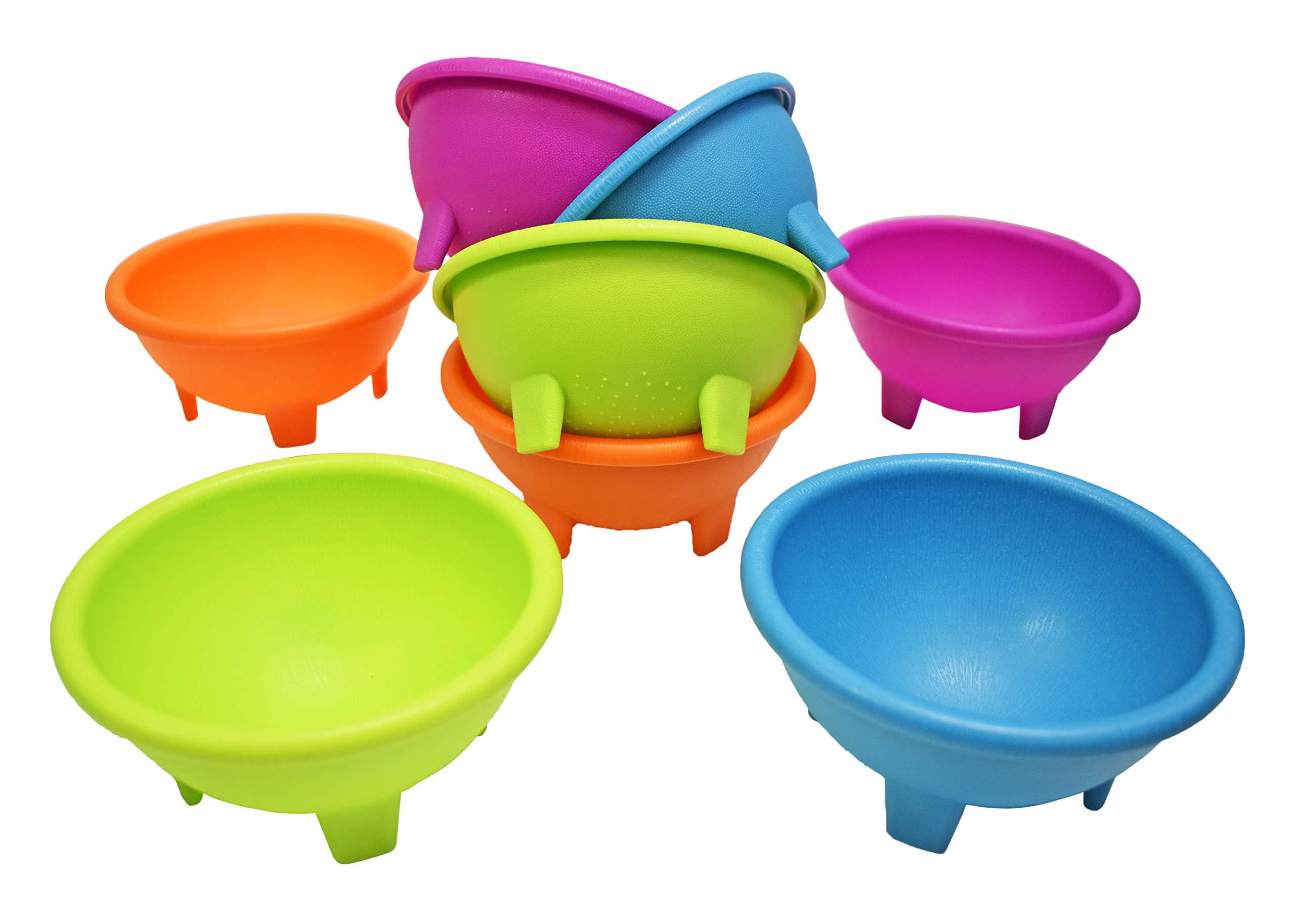 Set of 8 Multi Color Black Duck Brand 4.5'' Diameter Salsa Bowls - Serving Bowls - Dipping Bowls