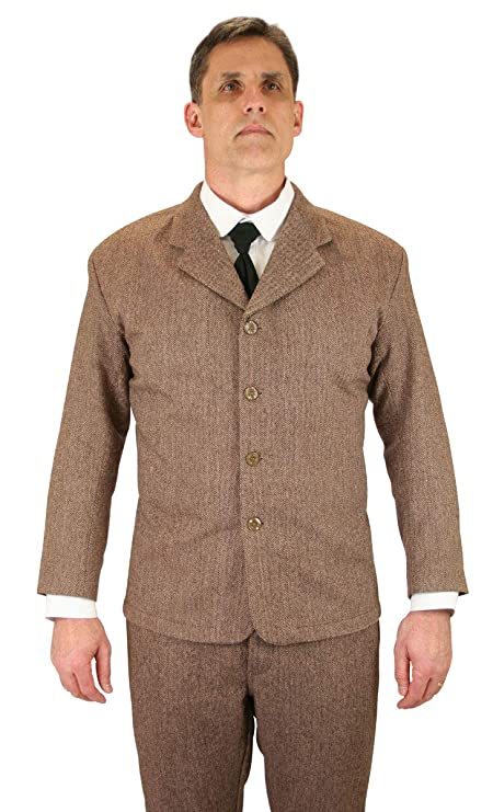 Men's Vintage Style Suits, Classic Suits Historical Emporium Mens Herringbon Tweed Sack Coat $149.95 AT vintagedancer.com