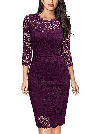 9e4ff7054594c Miusol Women s Retro Floral Lace 2 3 Sleeve Slim Evening Party Dress ...