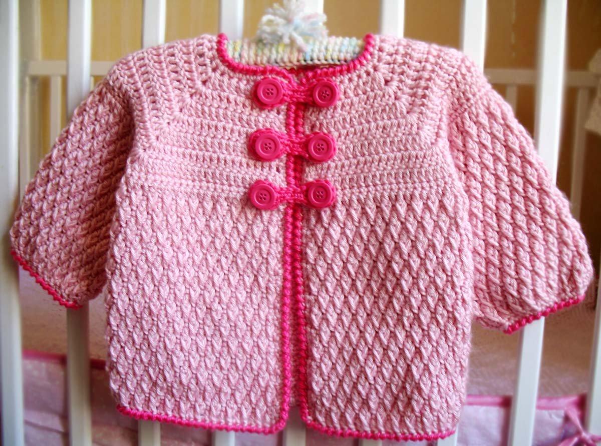 90d82d394364 Amazon.com  Crochet Pink Baby Jacket Handmade Buttoned Cardigan ...