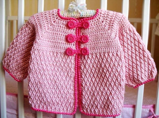 b4f2f35535d9 Amazon.com  Crochet Pink Baby Jacket Handmade Buttoned Cardigan ...