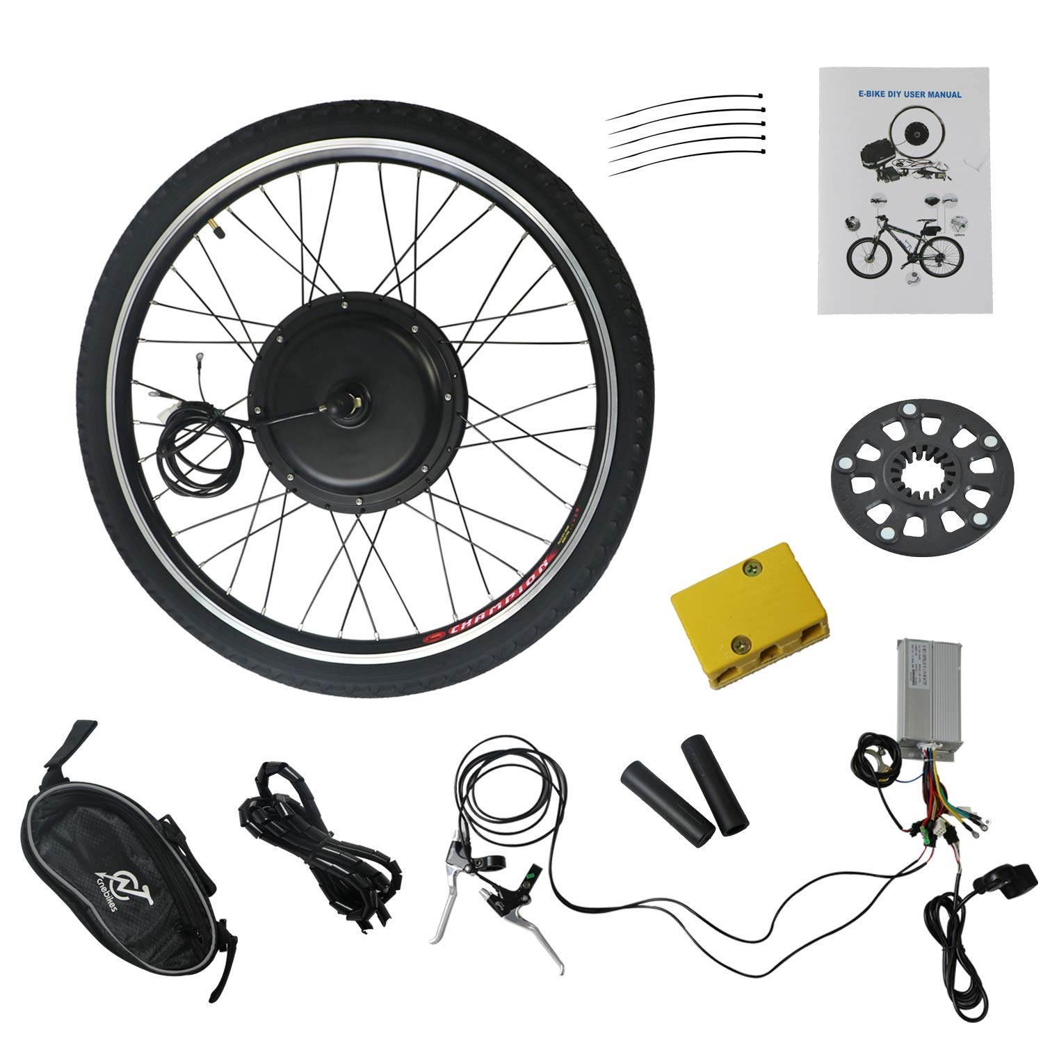 LLY 26'' Electric E-Bike Motor Kit Front Wheel 48V 1000W Battery Powered Bicycle Motor Conversion Kit CA-US Warehouse Drop Ship by LLY