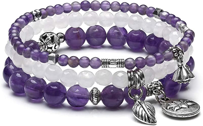 White Howlite /& Angel Wings Charm Beaded Energy Healing Crystal Bracelet