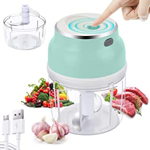 Asenky Electric Mini Food Chopper,2 Cups Portable Cordless Food Processor with USB Charging, Food Blender For Fruits/Vegetables/Garlic/Onion for Salad/Pesto/Coleslaw,150+230ml