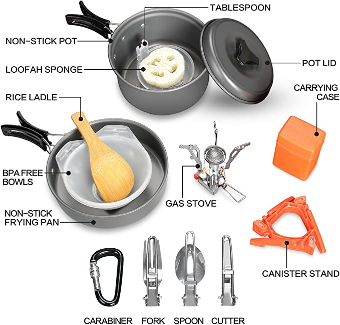 Juego de utenislios de cocina de 15 piezas, de Outon, con cazuela y sartén antiadherentes, hornillo de gas (3000 W), trípode para bombona, set de cubiertos plegable, mosquetón con bolsa de malla,