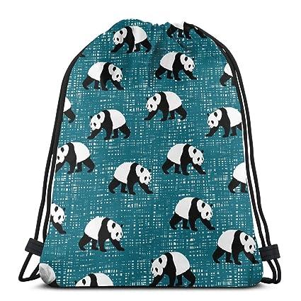 Cartoon Panda Drawstring Backpack Rucksack Shoulder Bags Training Gym Sack For Man And Women