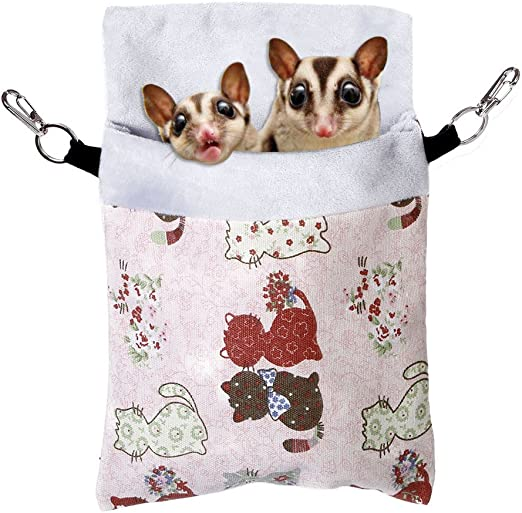 KINTOR Sugar Gliders Sleeping Pouch Snuggle Cage Hanging Bed House for Squirrels Marmosets Rats Hamster Small Pets
