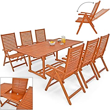 Wooden Garden Furniture Set Patio Dining Table And Chairs Set  U0026quot;Unikkou0026quot; Made Of