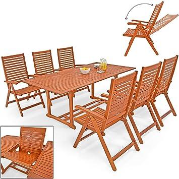Salon de jardin UNIKKO eucalyptus - Tables & 6 chaises - terrasse ...