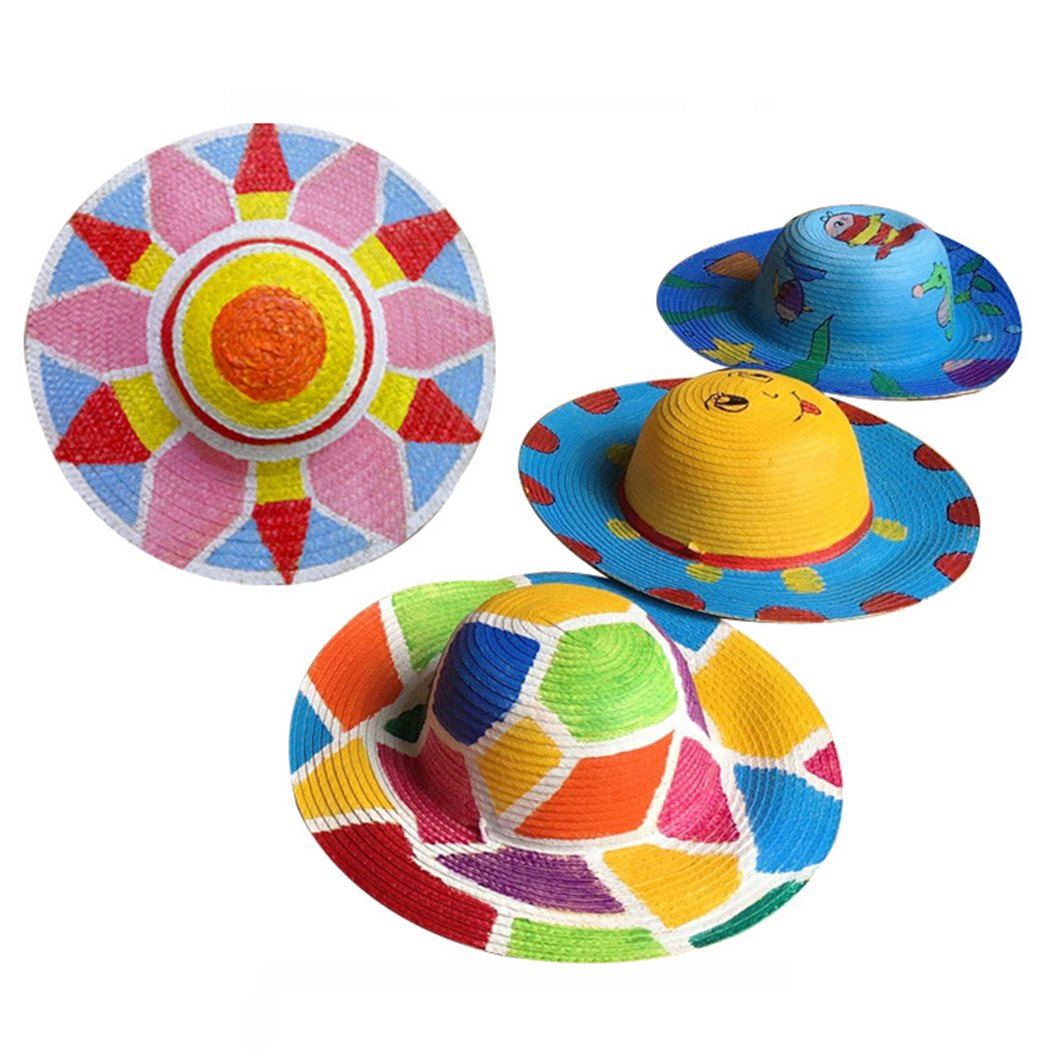 Straw Hat, Coxeer 6PCS Straw Hat Cap Beach Sun Hat Creative Art Painting Straw Hat for Kids Adults Birthday Party Hats Childrens DIY Straw Summer Hats by Coxeer (Image #6)