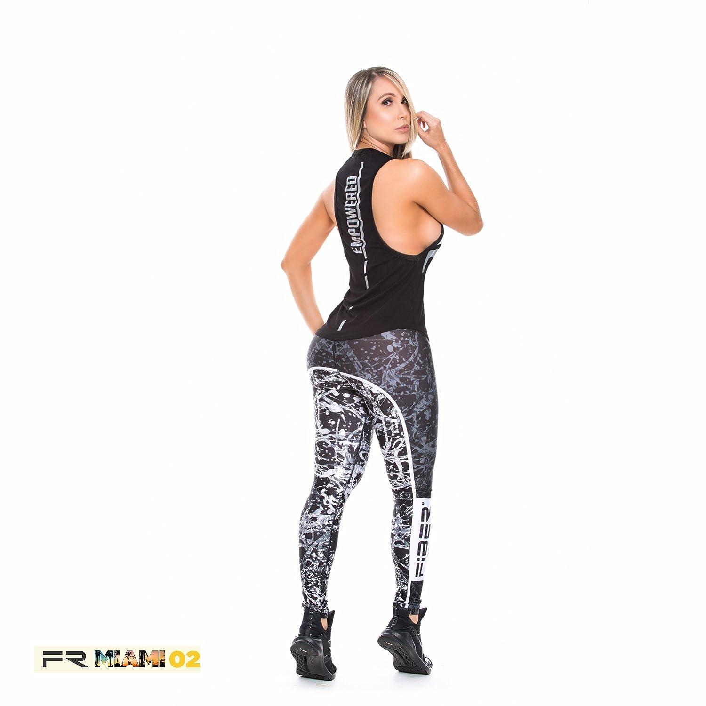 de98327f6e210 Fiber Activewear Leggings Womens Gym Workout Tights Pants Colombian Black  at Amazon Women's Clothing store: