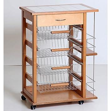 Carrito de cocina de madera soporte para botellas con pequeña cajón - Ambrogio Chef de Vin: Amazon.es: Hogar