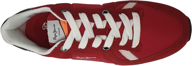 Pepe Jeans, Tinker wer PMS30621, Homme Basket_Mode_Basse Rouge bi-matière Rouge 255red