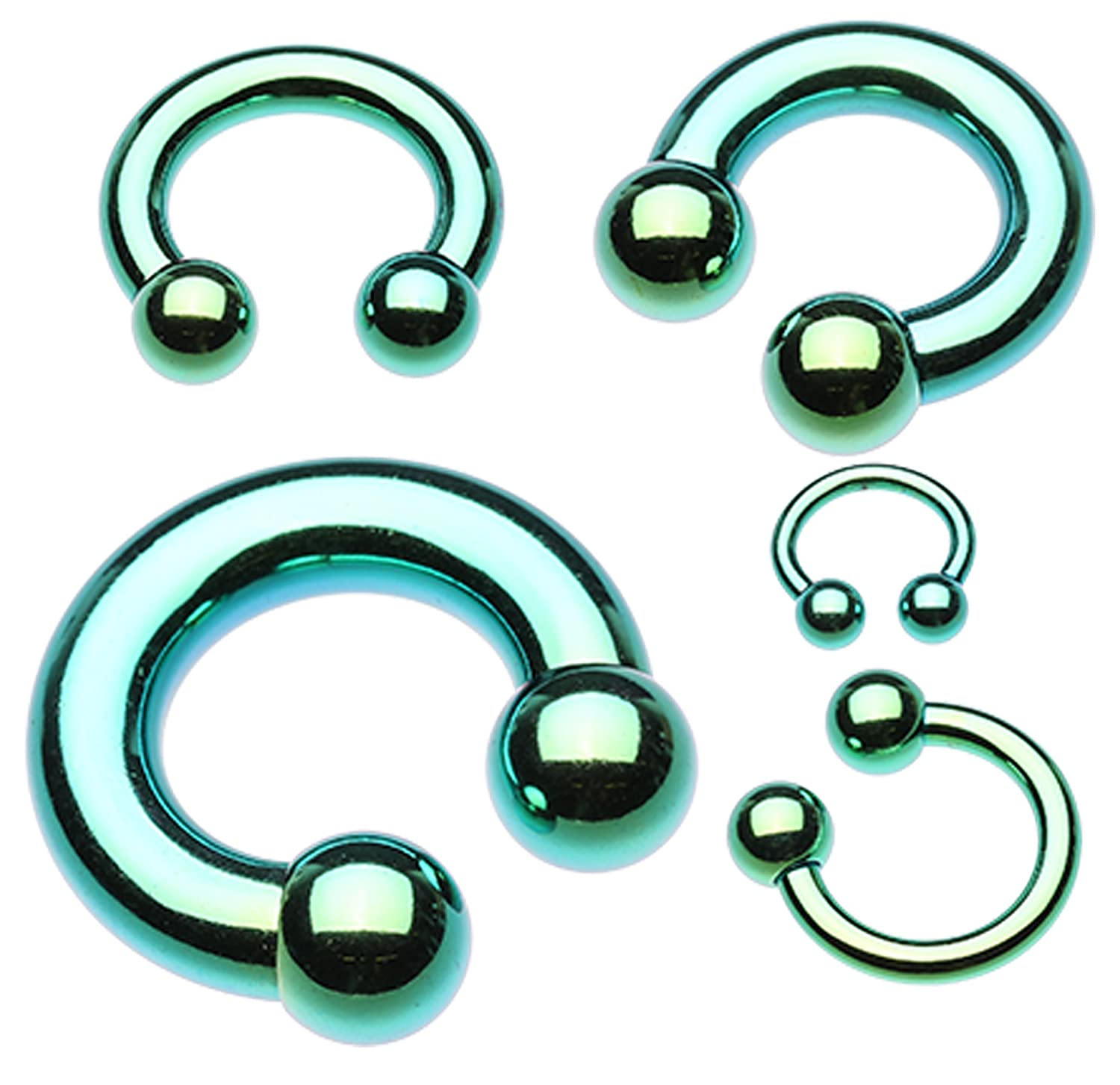 - Ball Size: 1//2 12mm 8mm 0 GA Colorline PVD Horseshoe Circular Barbell - Sold as a Pair