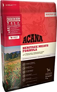 Acana Heritage Meats Dry Dog Food 4.5# with ANGUS BEEF, YORKSHIRE PORK & GRASS-FED LAMB