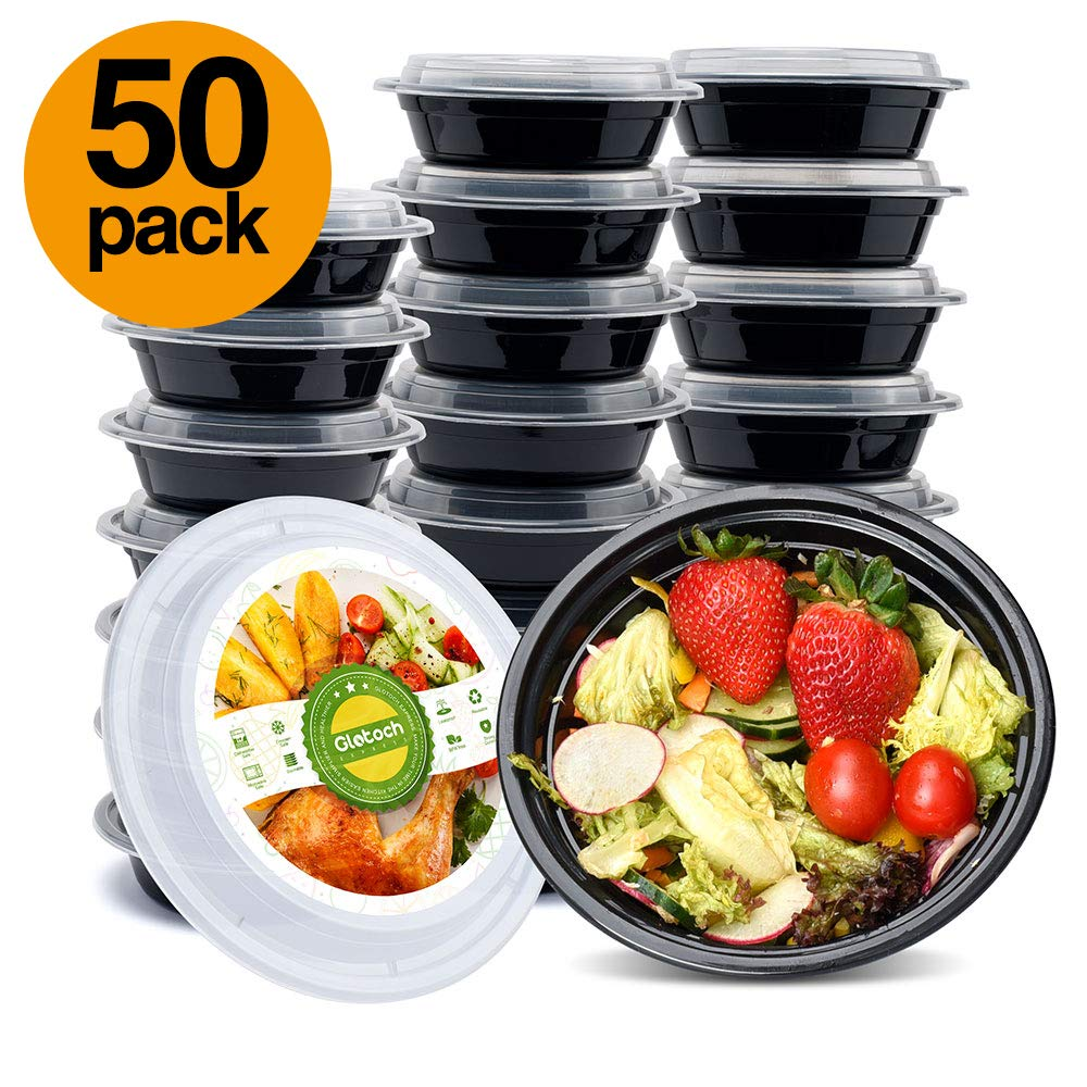 Glotoch 50pack Meal Prep Containers, 16ounce single Compartment Round Food Storage Containers & salad blow &bento box-Microwave, Freezer & Dishwasher Safe - Eco Friendly Safe Food Container