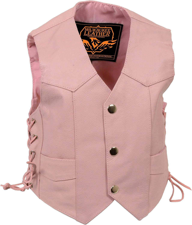 Milwaukee Leather SH2011LPNK-PNK-XL Girls Side Lace Vest Kids Pink, X-Large