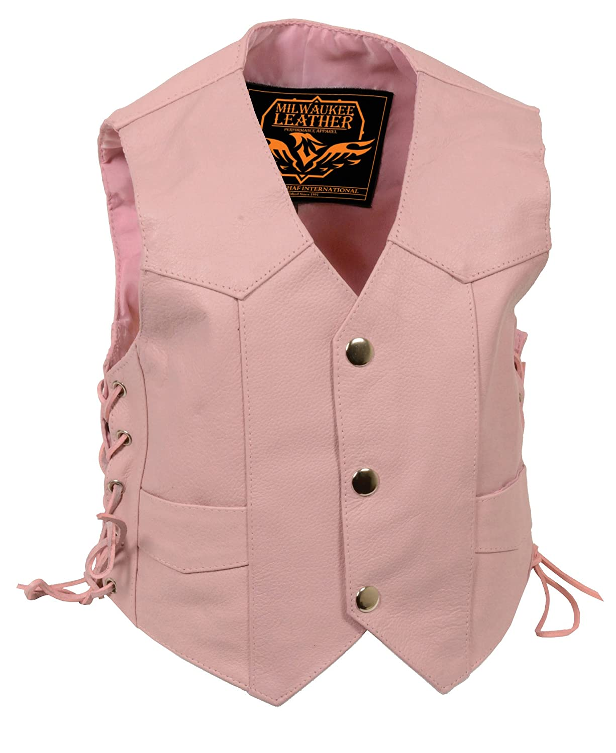 Kids Milwaukee Leather Girls Side Lace Vest Pink, X-Small