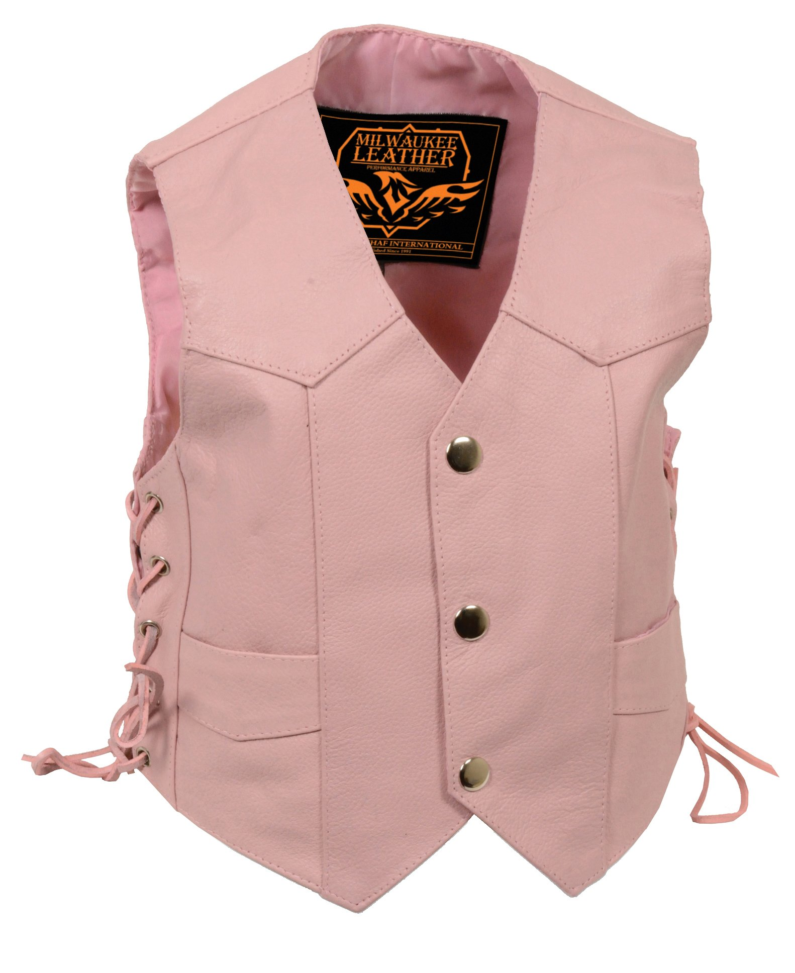 Milwaukee Leather Girls' Side Lace Vest (Pink, Large) (Kids)