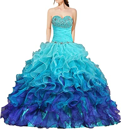 ANTS Womens Gorgeous Strapless Rainbow Quinceanera Dresses Ruffle Prom Gowns