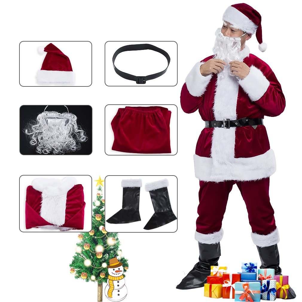 Adults Deluxe Santa Suit Men's Christmas Holiday Santa Claus Costume by HorizonZ