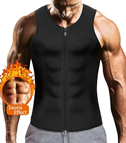 53179a1efe LODAY Mens Sauna Waist Trainer Corset Vest with Zipper for Weight Loss Hot Sweat  Neoprene Body