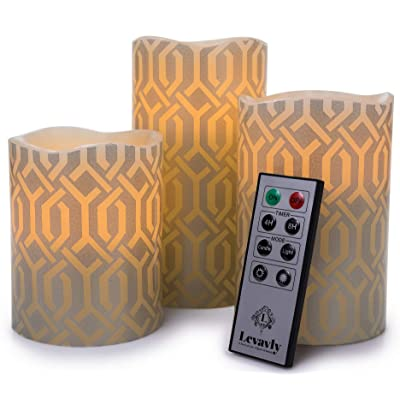 "Levavly Flameless Candles Set of 3 – Real Wax LED Candles with Remote Control & Timer – Flickering Votive Pillar Candles, Special Design 4"" 5"" 6"" Ivory & Silver-Use 2AA Batteries-Not Included: Kitchen & Dining"