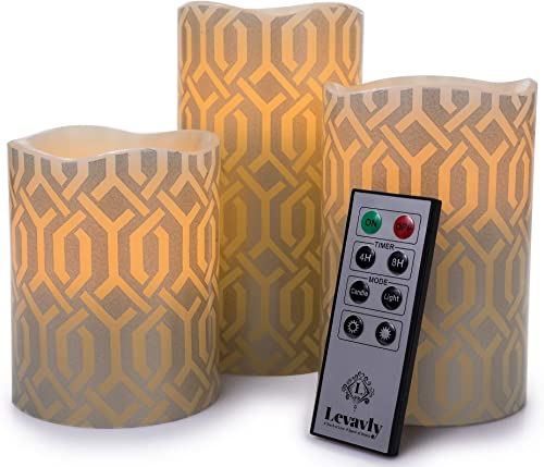 Levavly Flameless Candles Set of 3 Real Wax LED Candles with Remote Control Timer Flickering Votive Pillar Candles, Special Design 4 5 6 Ivory Silver-Use 2AA Batteries-Not Included