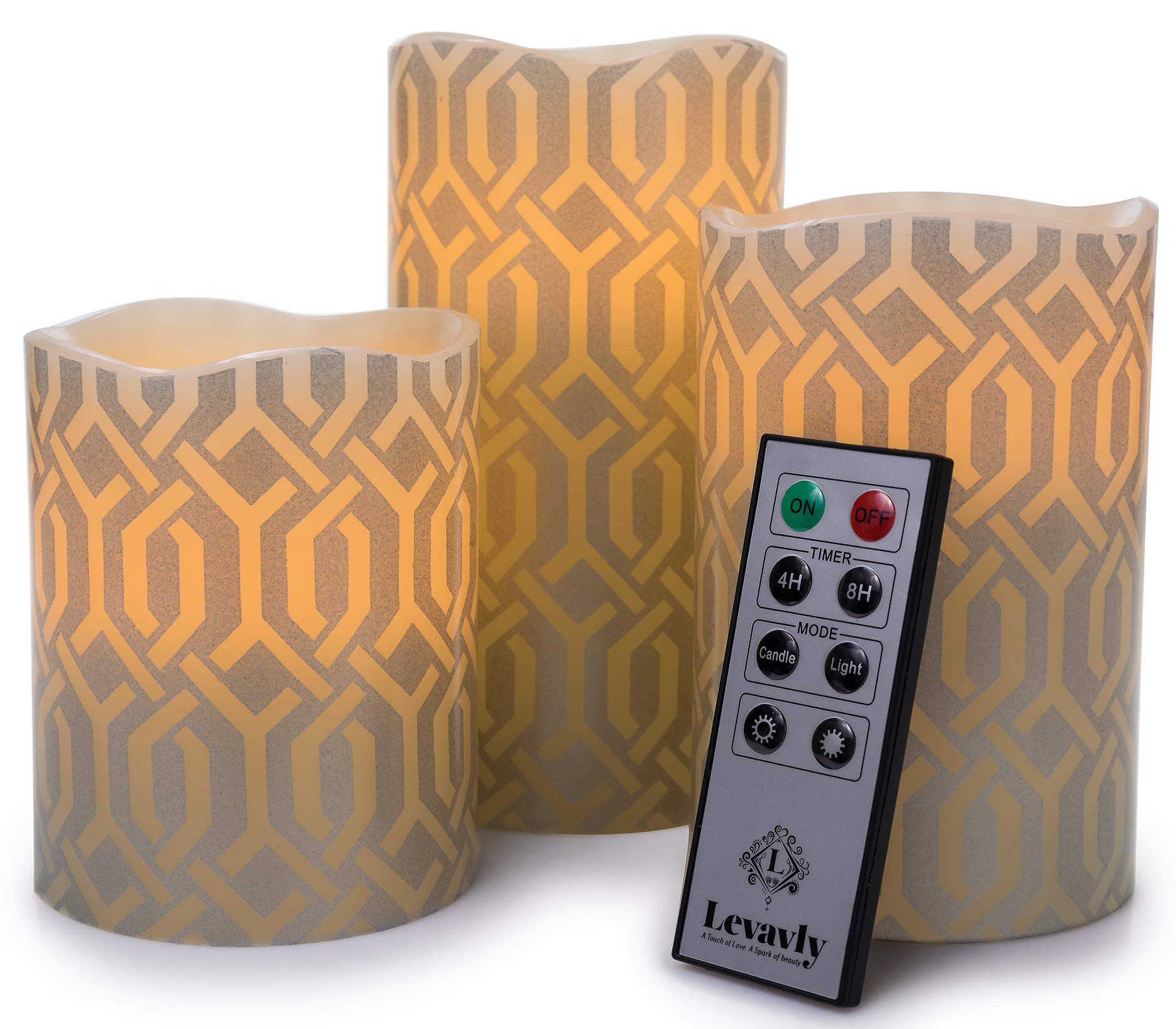Levavly Flameless Candles Set of 3 - Real Wax LED Candles with Remote Control, Timer & Batteries Included- Flickering Votive Pillar Candles, Special Design 4'' 5'' 6'' Ivory & Silver